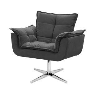 Cadeira Decorativa Opala Cinza Base Giratória