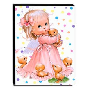 Quadro Infantil Vintage Menina e Patinhos Canvas 40x30cm-INF490