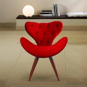 Poltrona com Capitonê Decorativa Cadeira Egg Vermelha com Base Fixa de Madeira