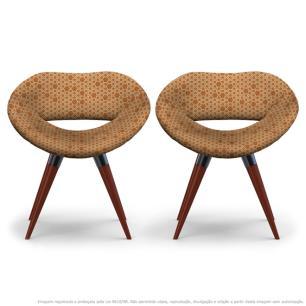 Kit 2 Cadeiras Beijo Colmeia Laranja e Marrom Poltrona Decorativa com Base Fixa