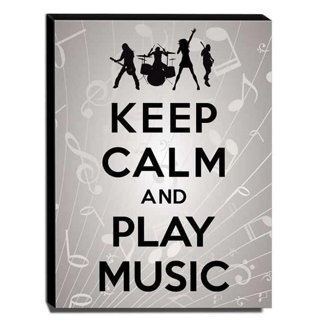 Quadro Keep Calm And Play Music Canvas 40x30cm-KCA46