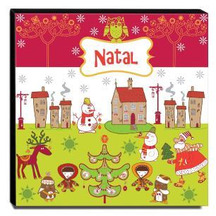 Quadro Infantil Natal Canvas 30x30cm-INF93