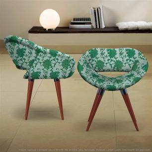 Kit 2 Cadeiras Beijo Verde Floral Poltrona Decorativa com Base Fixa