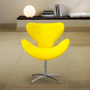 Cadeira Decorativa Poltrona Egg Amarela com Base Giratória