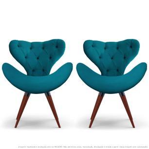 Kit 2 Poltronas Decorativas Cadeiras Egg com Capitonê Azul Turquesa com Base Fixa de Madeira