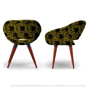 Kit 2 Cadeiras Beijo Floral Preto e Amarelo Poltrona Decorativa com Base Fixa