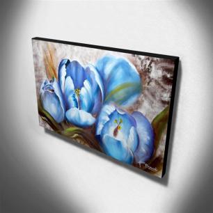 Quadro Decorativo Canvas Papoulas Azuis 60x105cm