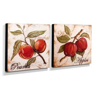 Kit 2 Quadros Cozinha Vintage Frutas Pêssego Maçã Canvas 30x30cm-COZ26
