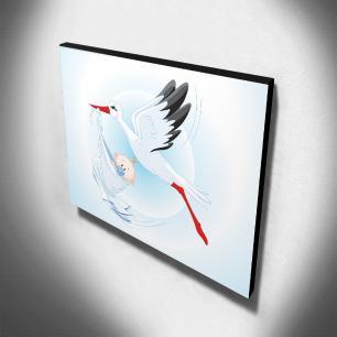 Quadro Infantil Cegonha Canvas 30x30cm-INF306