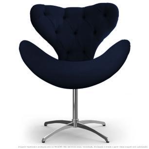 Cadeira Com Capitonê Decorativa Poltrona Egg Marinho Base Giratória
