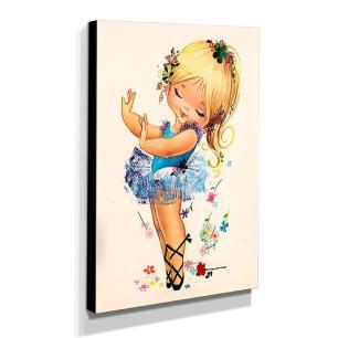 Quadro Infantil Vintage Bailarina Canvas 40x30cm-INF481