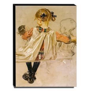 Quadro Infantil Vintage Menina Sentada Canvas 40x30cm-INF464