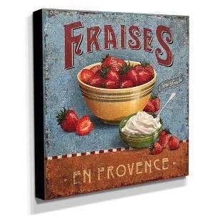 Quadro Cozinha Vintage Morangos Canvas 30x30cm-COZ59