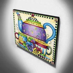 Quadro Cozinha Vintage Chá Canvas 30x40cm-COZ145