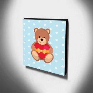 Quadro Infantil Ursinho Canvas 30x30cm-INF211
