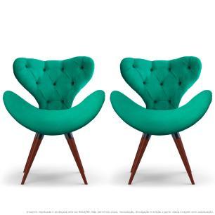 Kit 2 Poltronas Decorativas Cadeiras Egg com Capitonê Verde com Base Fixa de Madeira
