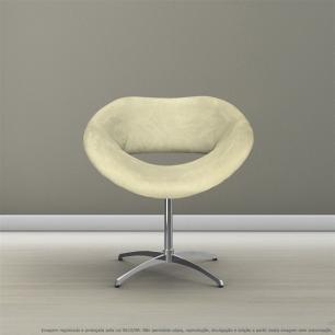 Cadeira Beijo Bege Poltrona Decorativa com Base Giratória