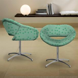 Kit 2 Cadeiras Beijo Verde Colmeia Poltrona Decorativa com Base Giratória