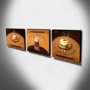 Kit 3 Quadros Cozinha Vintage Café Com Leite Capuccino Canvas 30x30cm-COZ09