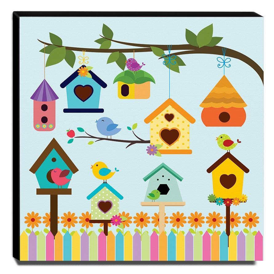 Quadro Infantil Pássaros Canvas 30x30cm-INF289