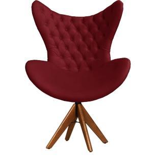 Cadeira Decorativa Com Capitonê Big Egg Bordô Giratória Madeira
