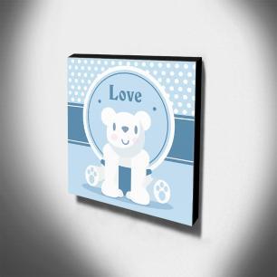 Quadro Infantil Maternidade Ursinho Love Canvas 30x30cm-INF235