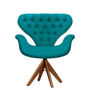 Cadeira Com Capitonê Tulipa Azul Turquesa Giratória Madeira