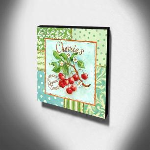 Quadro Cozinha Vintage Cerejas Canvas 30x30cm-COZ142