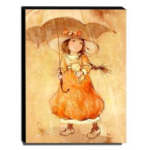Quadro Infantil Vintage Menina Com Sombrinha Canvas 40x30cm-INF466