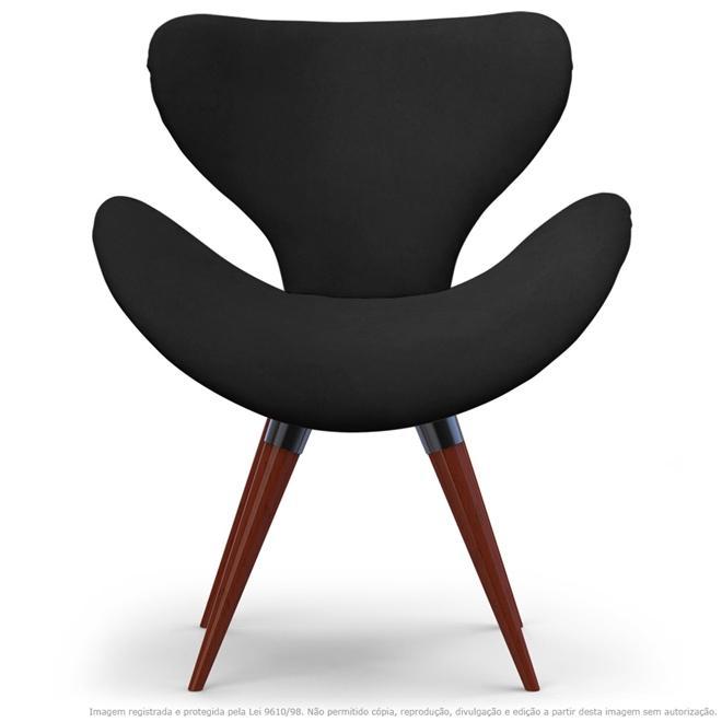 Poltrona Decorativa Cadeira Egg Cinza com Base Fixa de Madeira