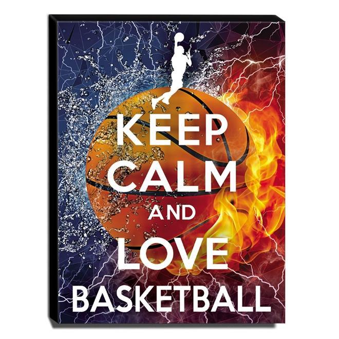 Quadro Keep Calm And Love Basketball Canvas 40x30cm-KCA93