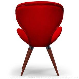 Poltrona Decorativa Cadeira Egg Vermelha com Base Fixa de Madeira