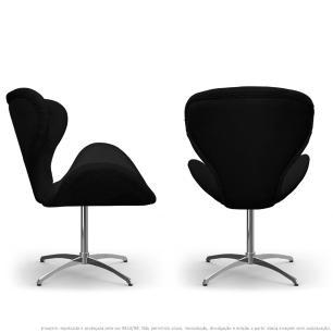 Kit 2 Cadeiras Decorativas Poltronas Egg com Capitonê Preta com Base Giratória