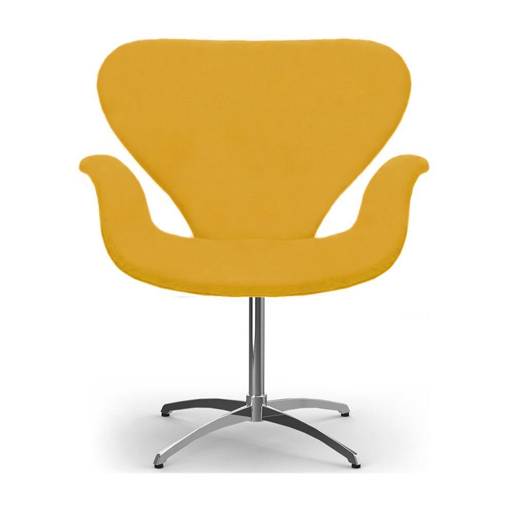 Cadeira Decorativa Poltrona Tulipa Amarela Base Giratória