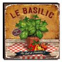Quadro Cozinha Vintage Manjericão Canvas 30x30cm-COZ66
