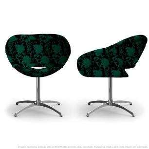 Kit 2 Cadeiras Beijo Floral Verde e Preto Poltrona Decorativa com Base Giratória