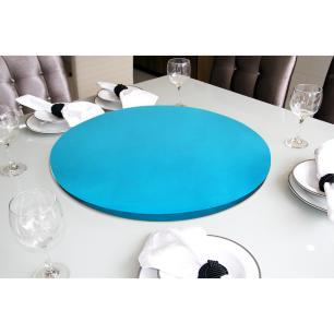 Prato Giratório Centro De Mesa Laqueado Azul Turquesa 60cm