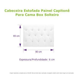 Cabeceira Estofada Painel Capitonê Cinza Para Cama Box Solteiro 90cm