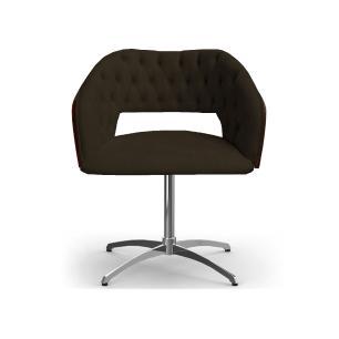 Cadeira Decorativa Bia Com Capitonê Marrom Giratória