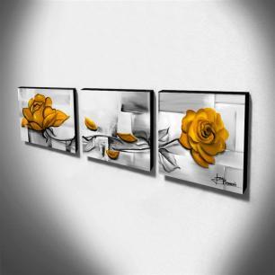 Trio de Quadros Decorativos Canvas Rosas Amarelas 60x60cm Cada-QF4T-60