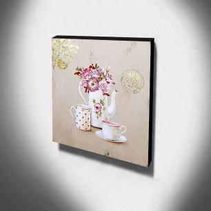 Quadro Cozinha Vintage Chá Canvas 30x30cm-COZ140