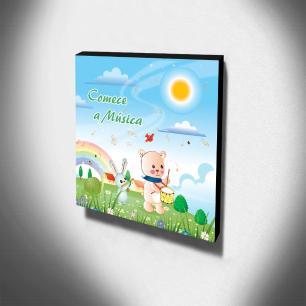 Quadro Infantil Comece a Música Canvas 30x30cm-INF99
