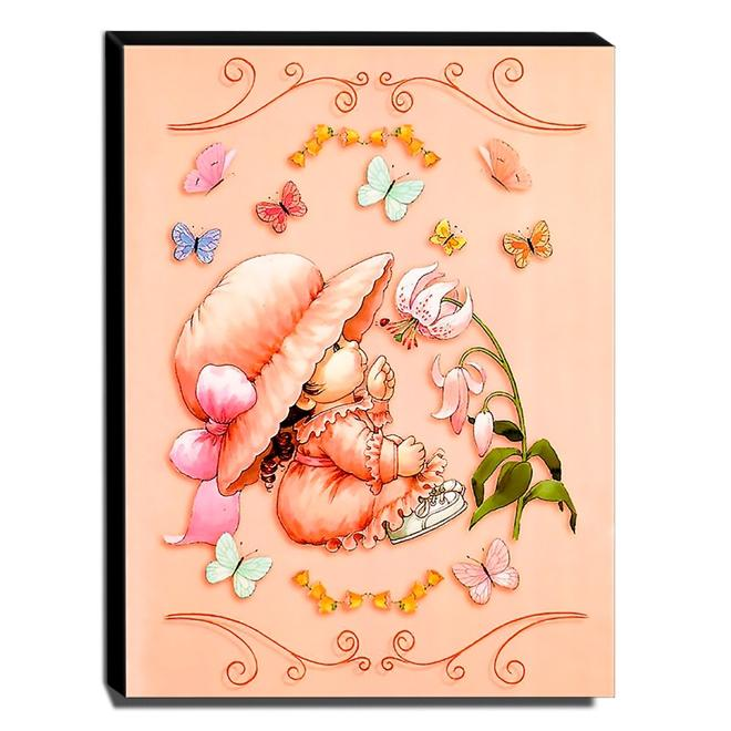 Quadro Infantil Vintage Menina e Borboletas Canvas 40x30cm-INF495