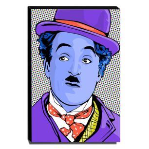 Quadro Pop Art Charlie Chaplin Canvas 40x30cm-QP5