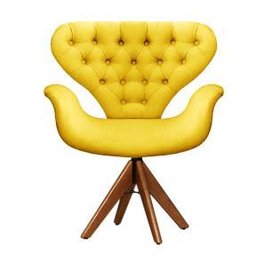 Cadeira Com Capitonê Tulipa Amarela Giratória Madeira