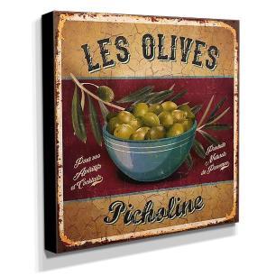 Quadro Cozinha Vintage Azeitonas Canvas 30x30cm-COZ52