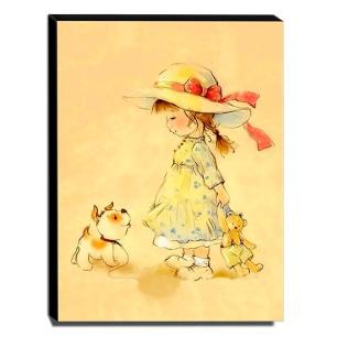 Quadro Infantil Vintage Menina e Cachorro Canvas 40x30cm-INF467