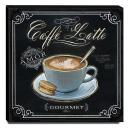 Quadro Cozinha Vintage Café Com Leite Canvas 30x30cm-COZ102