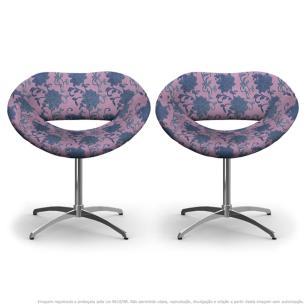 Kit 2 Cadeiras Beijo Floral Lilás e Rosa Poltrona Decorativa com Base Giratória