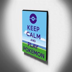 Quadro Keep Calm And Play Pokemon Canvas 40x30cm-KCA100